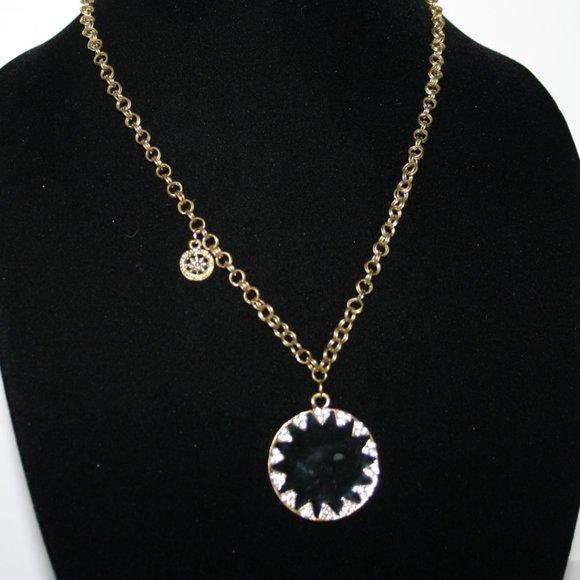 "Vintagejelyfish Jewelry - Gold black and rhinestone pendant necklace 28"""